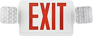 EXITLUX 1 Pack LED Exit Sign with Emergency Lights Two LED Adjustable Head Emergency Exit Lighting Exit Sign for Business,Corded Emergency Lights for Home Power Failure