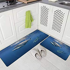Doocilsh Kitchen Rugs,Kitchen Rugs Washable for Women and Men,17X48+17X24Inches Three Whale Sharks Swimming Near The Surface Bay West Papua Indonesia Kitchen Rug