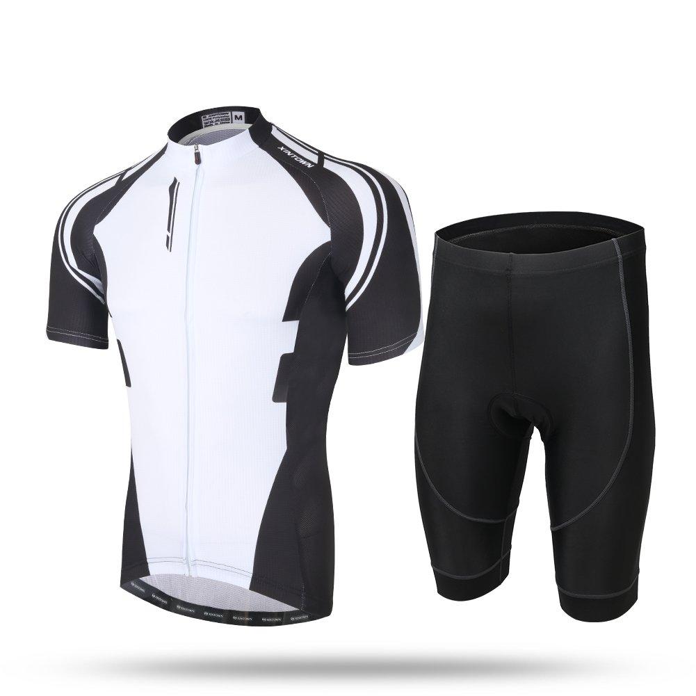xintowメンズサイクリングジャージー半袖自転車バイクシャツよだれかけSortsサイクルRacingジャケット衣類Wear d303 4L White 1 shorts suit B06XN6DR5M
