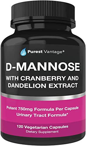 D Mannose Capsules with 600mg D-Mannose Powder Per Cap – with Added Cranberry and Dandelion Extract to Aid in Bladder, Urinary Tract Infection and UTI Support – 120 Veggie Caps