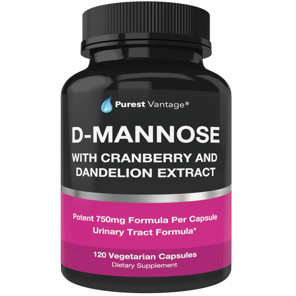 D Mannose Capsules with 600mg D-Mannose Powder Per Cap - with Added Cranberry and Dandelion Extract to Aid in Bladder, Urinary Tract Infection and UTI Support - 120 Veggie Caps by Purest vantage