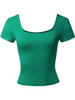 Amazon.com: Camiseta de manga corta y cuello cuadrado para ...