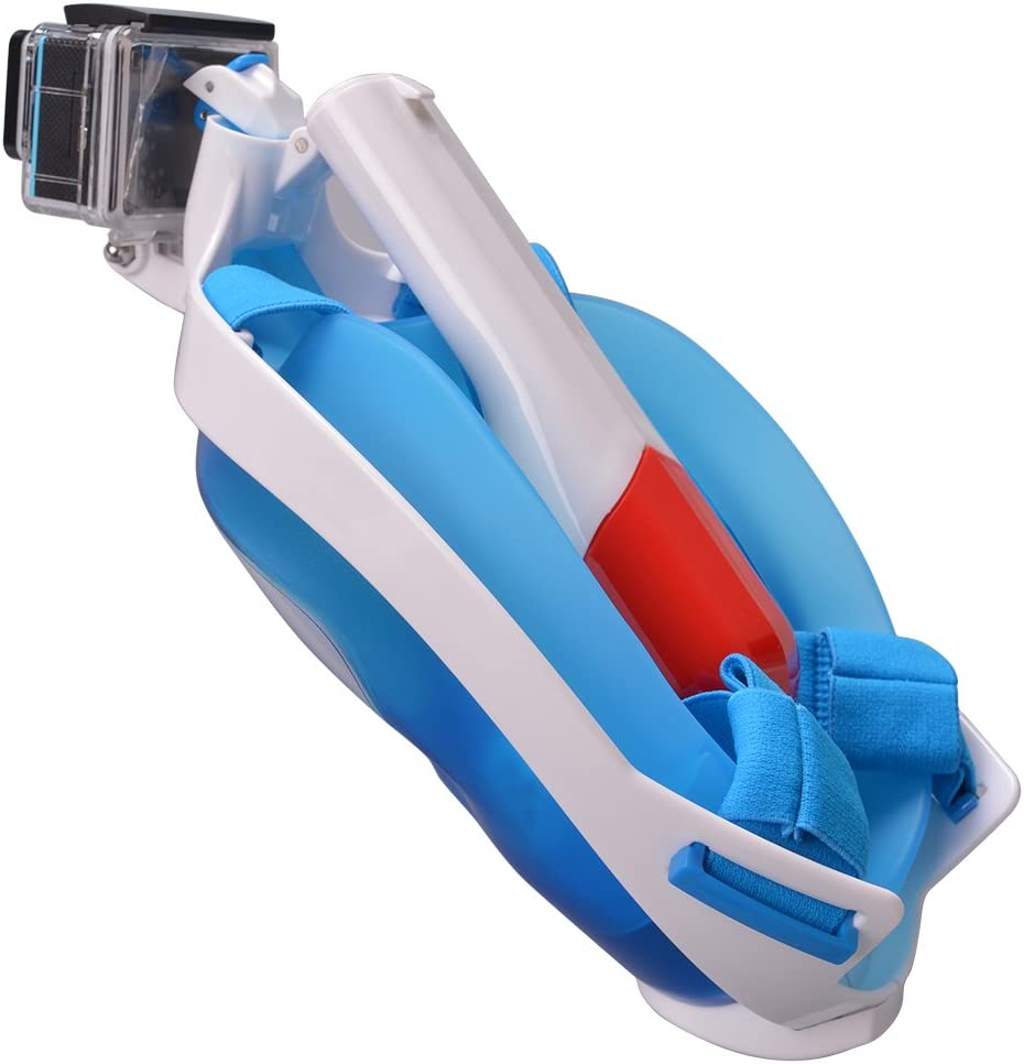 Ocamo Folding Diving Mirror Scuba Free Breathing Full Face Snorkel Mask Blue M