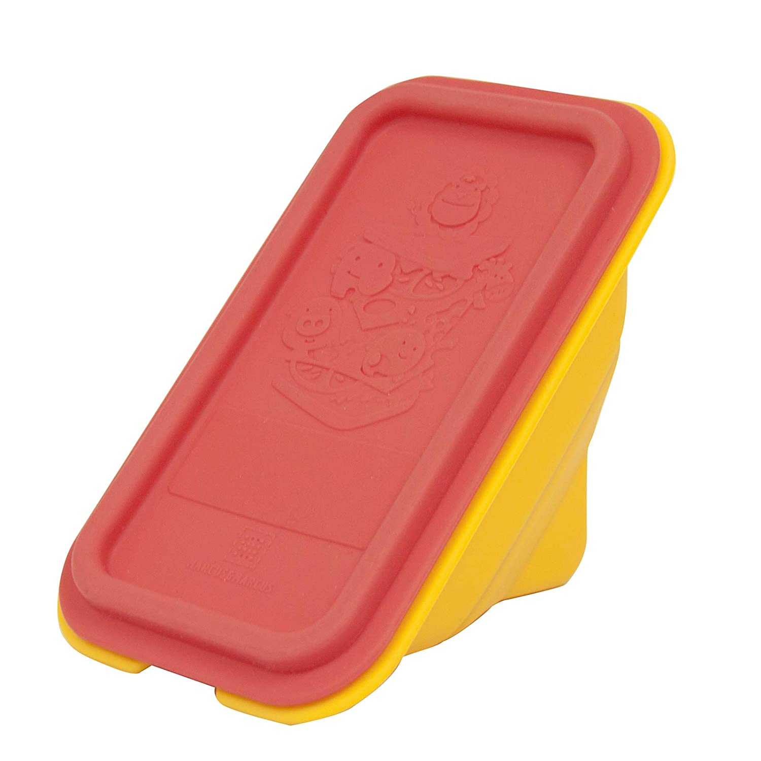 Collapsible Silicone Sandwich Container with Lid, Wedge Shape, Red, by Marcus & Marcus