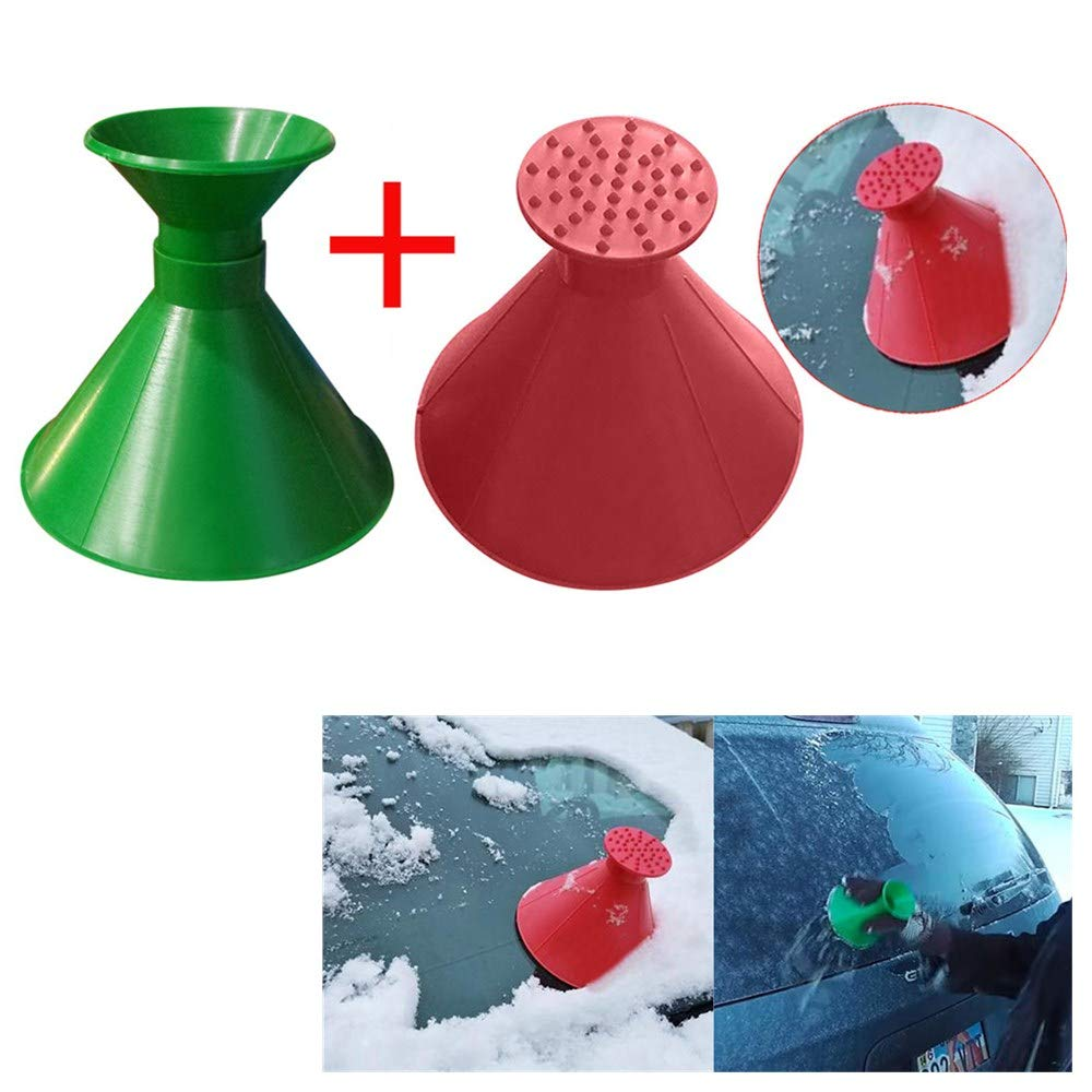 Forme conique de voiture pare-brise Neige retrait Outil de nettoyage de vitres snowboard D/égivreur pour moto avec brosse /à neige 12.5cm Red