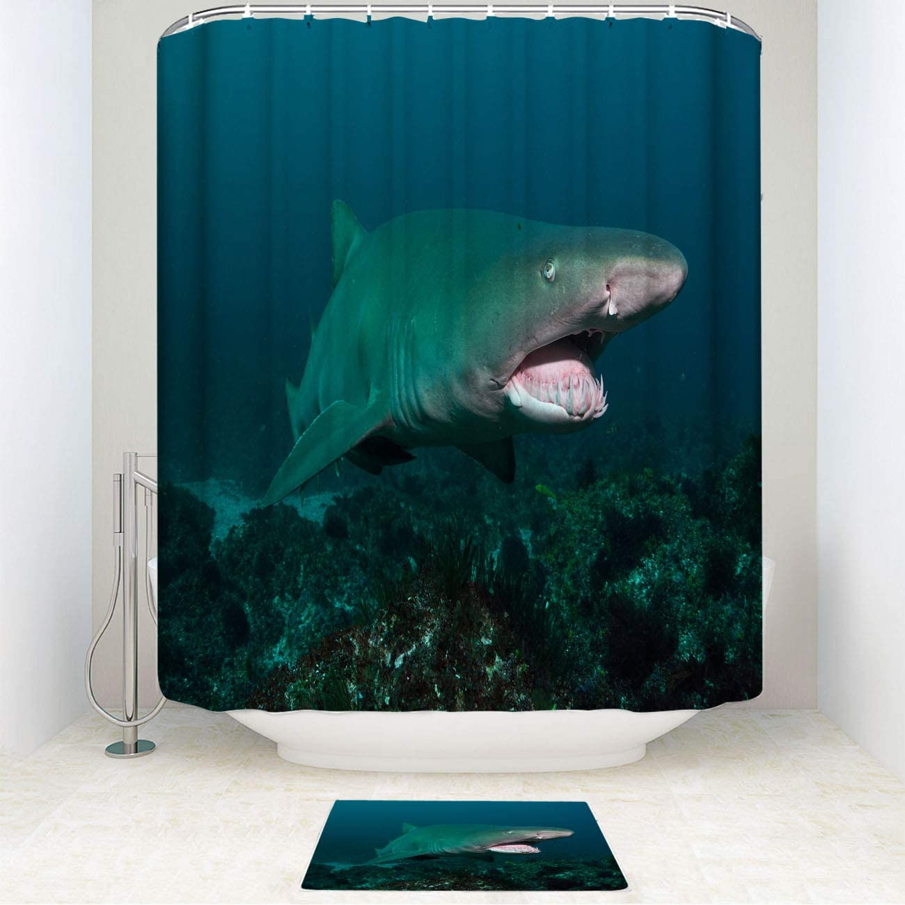 Monstero Grey Shark Shower Curtain Set with Non-Slip Bath Mat Grey Nurse Shark,Tweed Heads,New South Wales,Curtain Decor Sets with Hooks for Bathroom Showers and Bathtubs 72 X 72