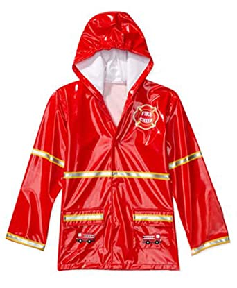 Amazon.com: Boy's Red Fireman Rain Coat: Boys Fireman Raincoat ...