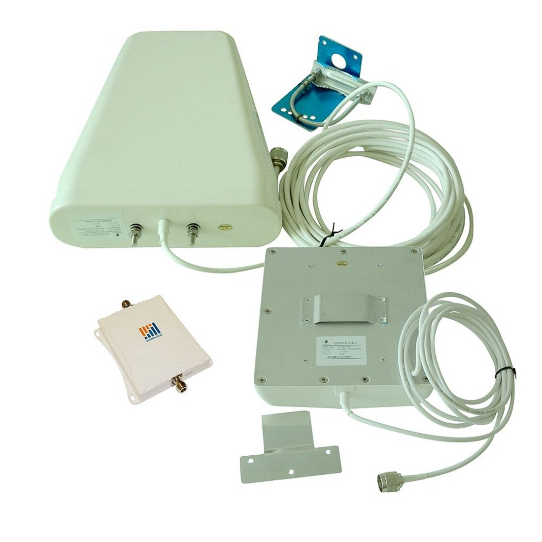 Signalbox 70db 850/1800mhz 3g 4g LTE Cellphone Signal Booster Mobile Phone Signal Repeater High Gain 12dBi Log-periodic + 7dBi Panel Antenna and 15m Cable Amplifier Kit (White Cable)