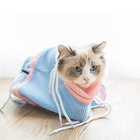 Hemore - Bolsa de baño para gatos con cordón ajustable, malla para mascotas, gatos