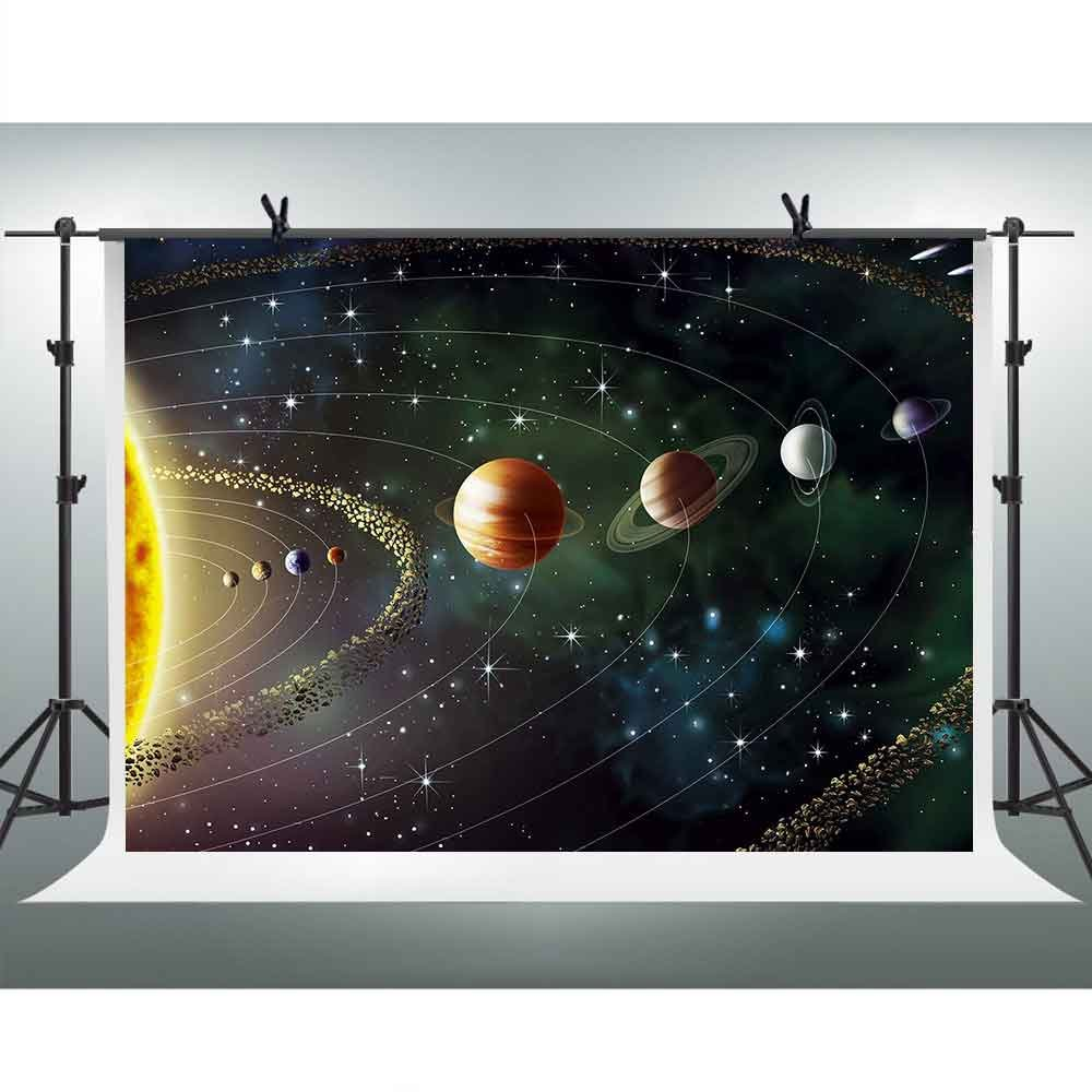 FHZON 7x5ft Solar System Photography Backdrop Planet Rotation Cosmic Galaxy Background Themed Party YouTube Backdrops Photo Booth Studio Props PFH317