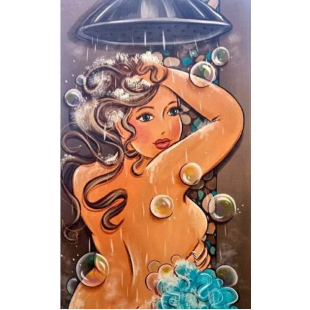 sshssh (Sin Marco) 5D Anime Ba/ño Lady Picture Diamond Pintura Cross Stich Kit Rhinestone Mosaico DIY Pintura Diamante Decoraci/ón del Hogar