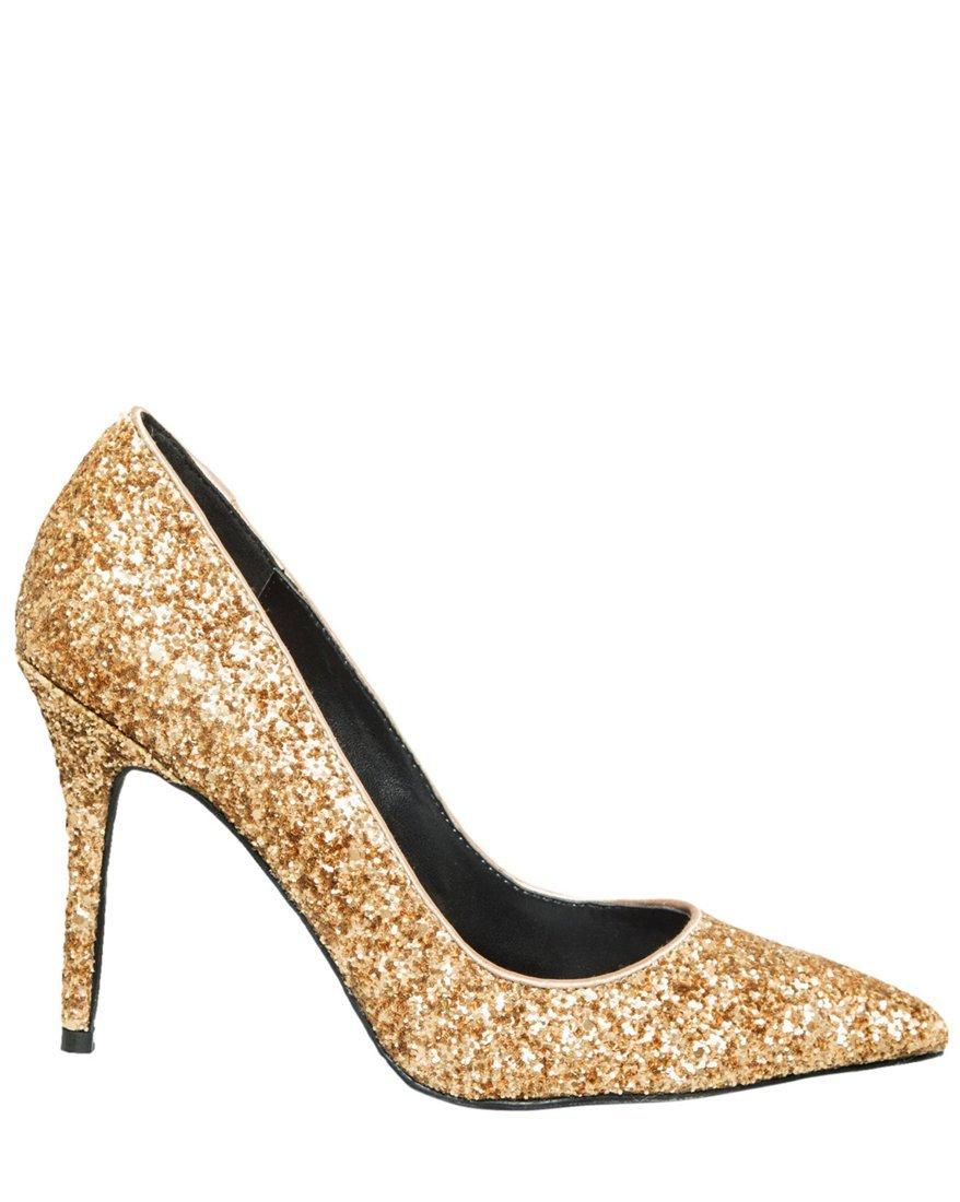 LE CHÂTEAU Women's Glitter Pointy Toe Pump,7.5,Dark Gold
