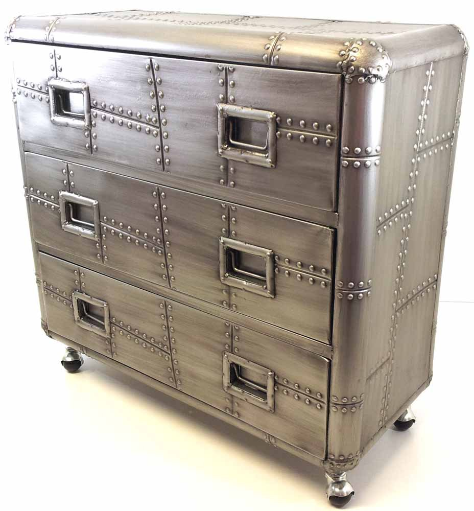 Luggage With Drawers Large Retro Metal Industrial Style 3 Drawer Unit On Castor Wheels