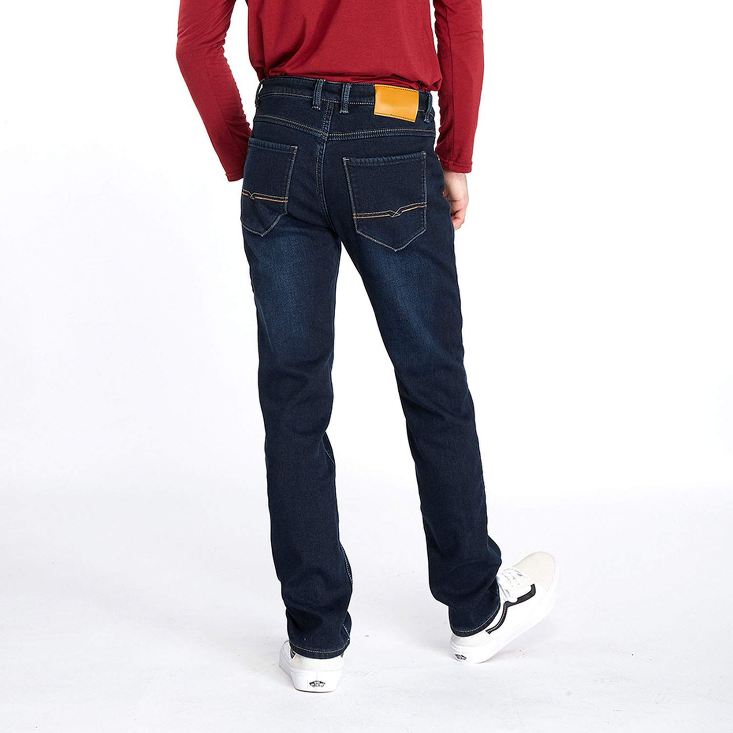 DATAIYANG Mens Winter Fleece Jeans Flannel Lined Stretch Denim Jeans Slim Fit Trousers Pants 42,Blue,30