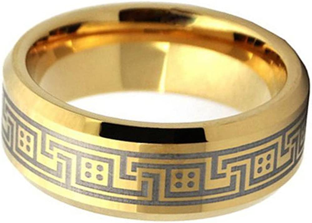 MYVIYSENY Tungsten Steel Customize Gold Laser Great Wall Pattern Polished Edge Ring Men Women Wedding Band,Size 6-13.5