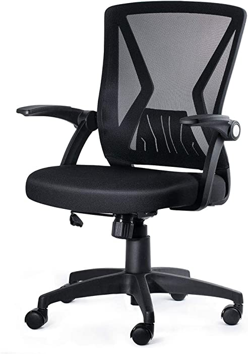KOLLIEE Mid Back Mesh Office Chair Ergonomic Swivel Black Mesh Computer Chair Flip Up Arms With Lumbar Support Adjustable Height Task Chair