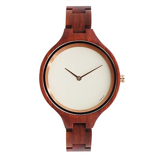 Hstyle Mujeres Hechas a Mano Reloj de Madera Natural para Mujer de Palo de Rosa Reloj de Pulsera con Reloj de Cristal de Zafiro: Amazon.es: Relojes