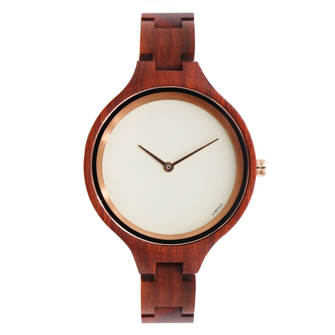 Hstyle Women's Handmade Real Rosewood Wooden Watches with Sapphire Glass