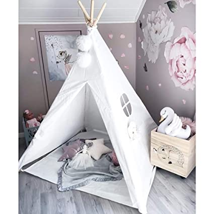 Kids Teepee Tent Children Play Tent with Floor Mat for Indoor Outdoor, Raw  White Canvas, By Wonder Space