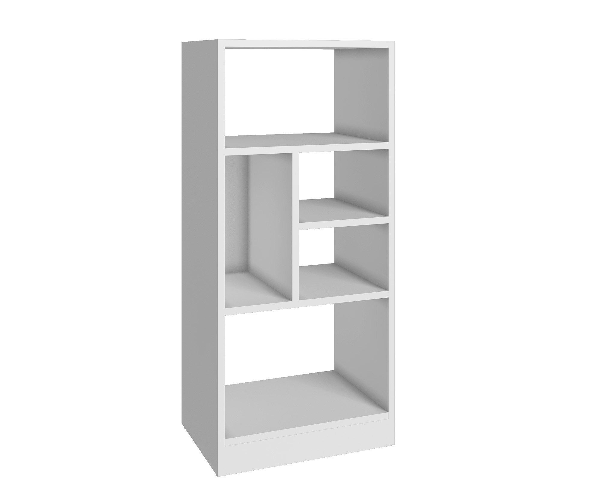 Manhattan Comfort Valenca 2.0 Collection Modern Decorative Free Standing 5 Shelf Bookcase with Open Shelf Design, White