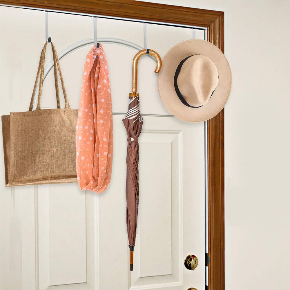 Hats,Towels Heavy Duty Stainless Steel Door Hanger and Door Hooks for Hanging Keys Coats and Handbags Silver KINGSUSLAY 12 Pack Adjustable Over The Door Hooks for Clothes