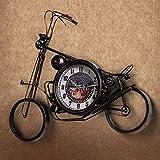 XQY Reloj de Campana de Pared de Metal Exacto Moderno Minimalista Creativo Retro Hecho a Mano Antiguo de Hierro Forjado Relojes de Motos y Relojes la Barra de la Sala de Estar está Decorada con 1 Bat