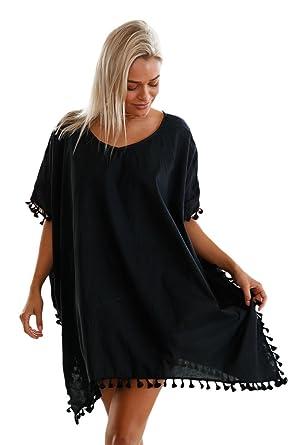 98009aa3ecfbd ILFtrend Women Pom Pom Tassel Hem Gauze Cover up Beach Dress Beachwear  ((UK8-