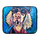 Fonsisi Laptop Storage Bag Cool Glasses Dog Painting Art Portable Waterproof Laptop Case Briefcase Sleeve Bags Cover