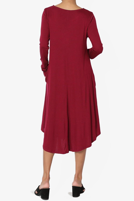 TheMogan S~3X Short Sleeve Viscose Jersey A-line Midi Long Dress W//Pockets