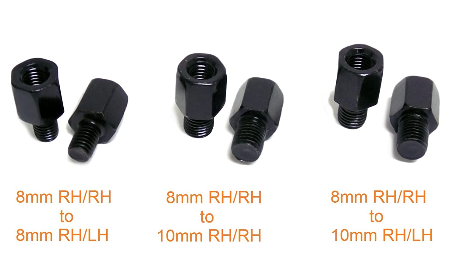 Includes Conversion Adapter Kit to 10mm and Both RH//RH and RH//LH Thread Flat Black MMG Powersports Adjustable Mirror Set 4237 for mid-size Motorcycles Scooters 8mm RH//RH Thread