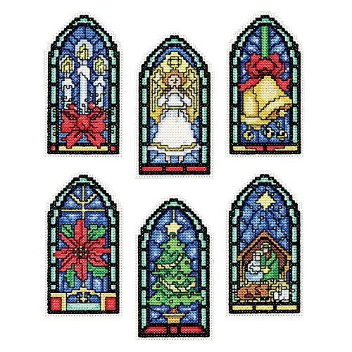Canvas Plastic Ornaments (Design Works Count Plastic Canvas Kit ~ STAINED GLASS Ornaments #5909)