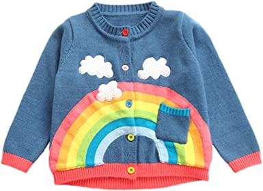 UK Baby Girls Kid Rainbow Summer T-Shirt Tops Toddler Blouse Sweatshirt Clothes