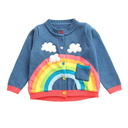 85754578f Amazon.com: KONFA Teen Toddler Baby Boys Girls Winter Clothes, Rainbow  Clouds Knitted Cardigan Sweater Warm Pullover Tops: Clothing