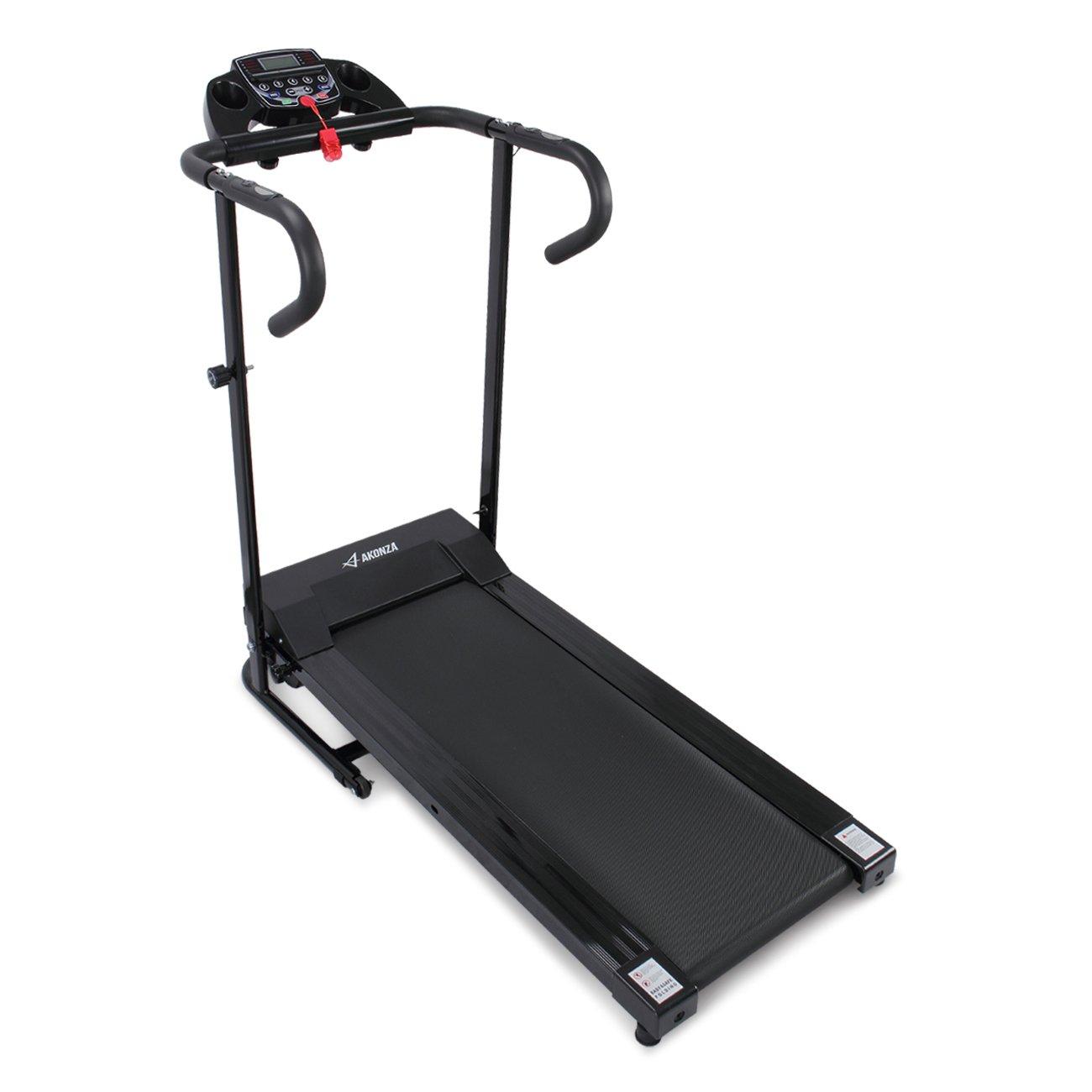 Akonza 1100W Folding Electric Treadmill Fitness Power Motorized Jogging Walking Running Machine w/Cup Holder, Black