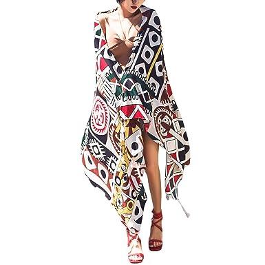 9d6ce2d5ed6a iShine Femme Elégant Echarpe en Coton-Lin avec Impression Style Bohême  Casual Foulard Coloré Foulard