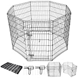 Yescom 42″ Tall Pet Dog Playpen Foldable Metal Exercise Fence Cage Kennel with Door 8 Panel Outdoor Indoor For Sale