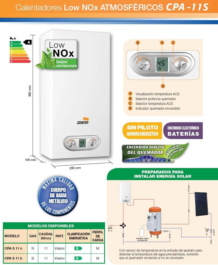 Cointra S0421534 Calentador de Gas Cointra CPA11B 11,2 L 19,2 kW Butano