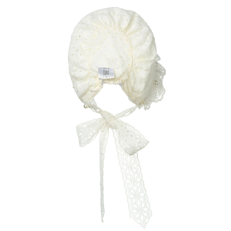 Hanakimi Lace Edge Christening Bonnet Handmade White KM005
