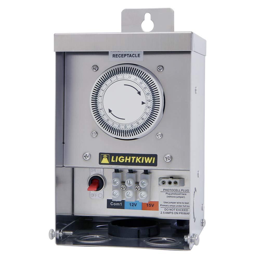Lightkiwi U2184 75 Watt Heavy-Duty Stainless Steel (12V-15V) Multi-Tap Low Voltage Transformer for Landscape Lighting by Lightkiwi
