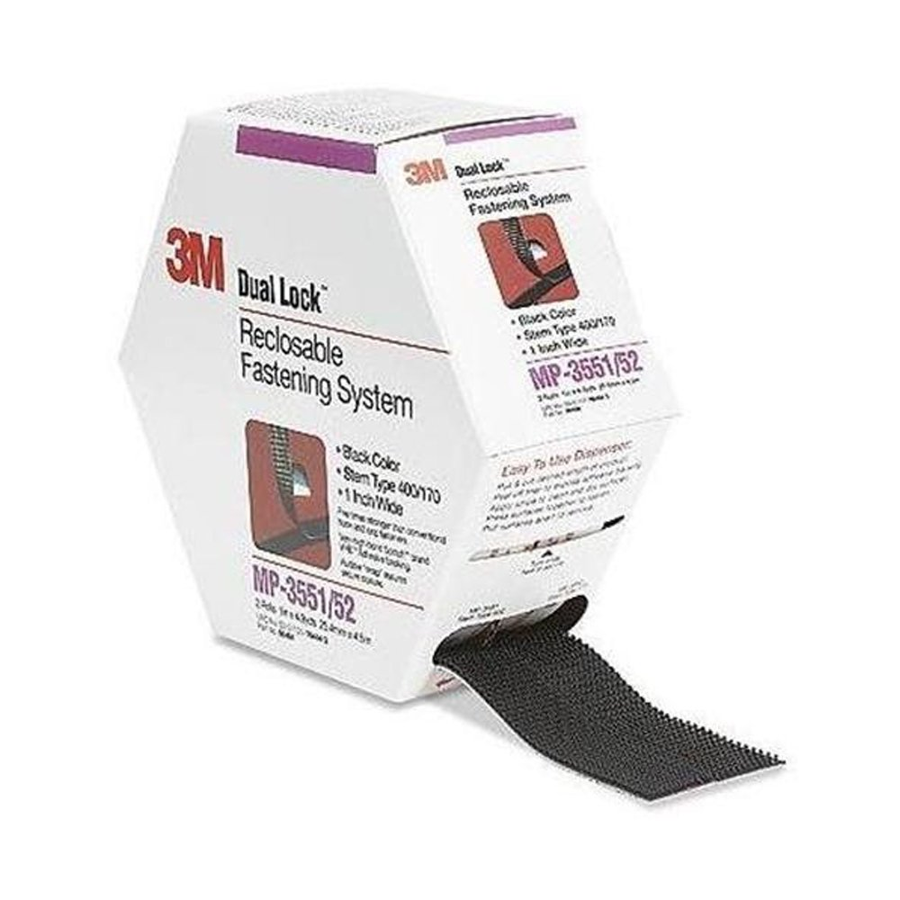 "3M Dual Lock MP3551/3552 Reclosable Fastener, 5 yds Length x 1"" Width, Black"