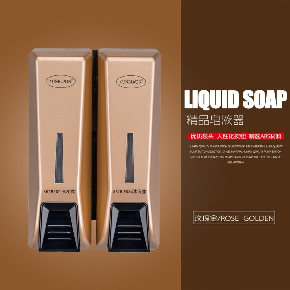 H/ôtel Distributeur de savon,Montage mural,Distributeurs de douche,Distributeur de savon manuel,Accueil Bo/îte de gel douche Bo/îte de shampooing-orange