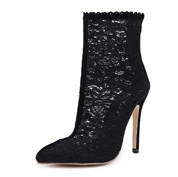 Sexy Encaje Cool Boot Botines Mujeres Punta Punta De 12Cm Estilete Cremallera Zapatos De Fiesta Vestido OL Corte Zapatos UE Tamaño 35-40: Amazon.es: ...