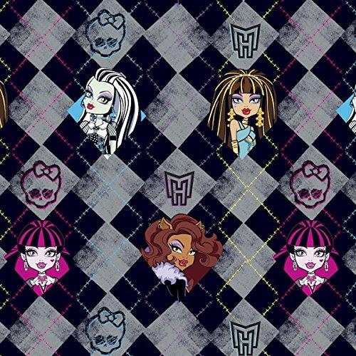Monster High Argyle Skin Anti-Pill Fleece Fabric By The Yard (Black)
