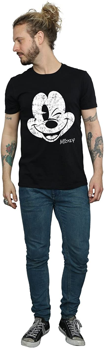 Disney Mens Mickey Mouse Distressed Face T-Shirt