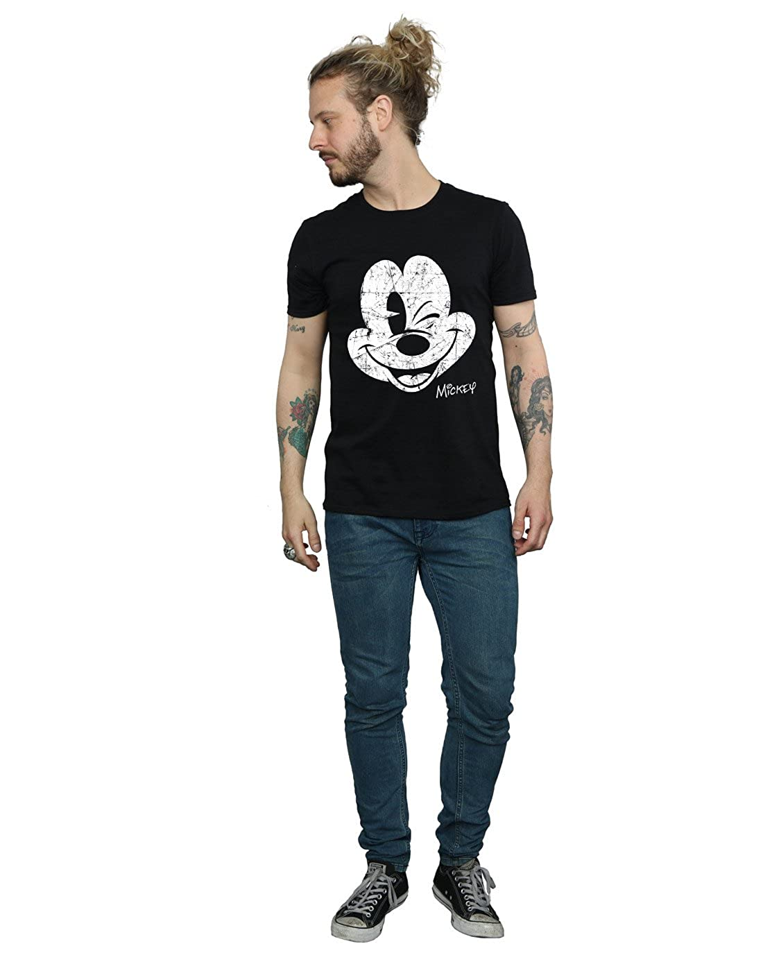 Disney Herren Mickey Mouse Distressed Face T-Shirt