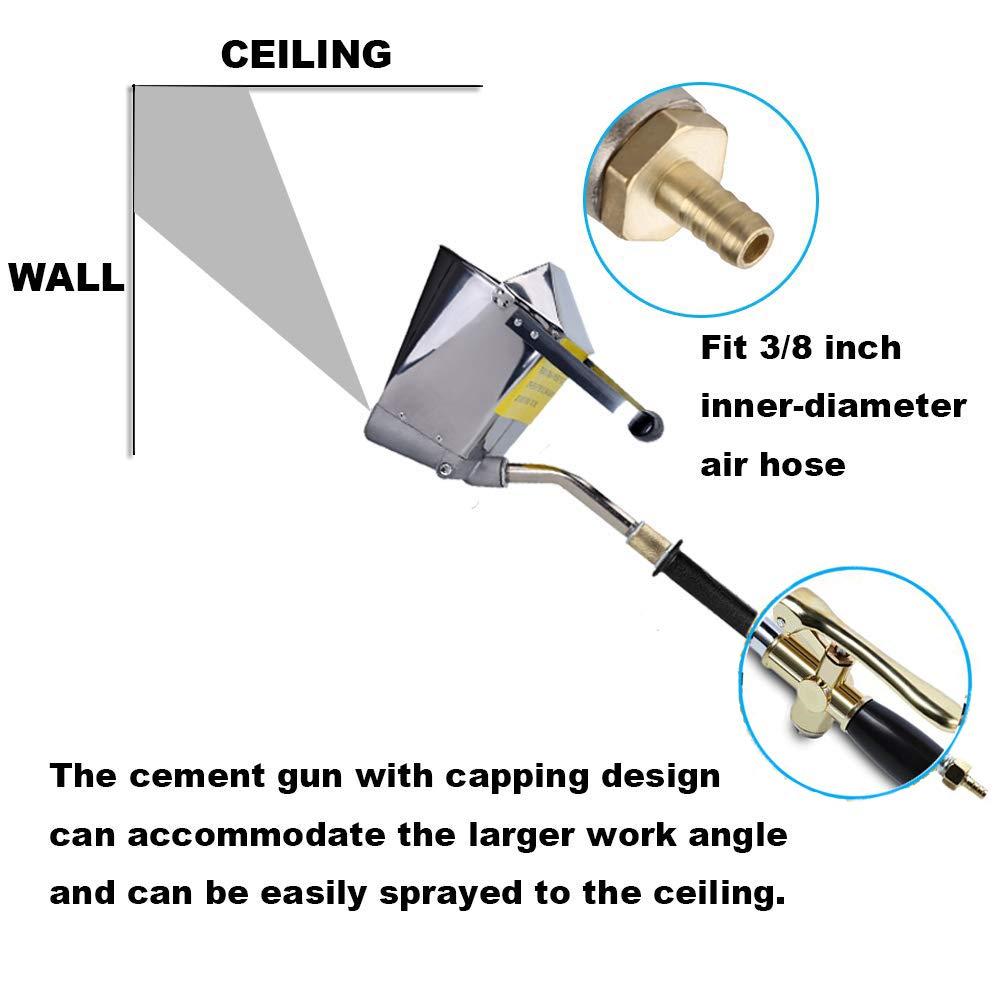 2 en 1 Pulv/érisateur de Mortier Ciment Mortier Pistolet Pistolet /à Tr/émie Pulv/érisateur de Pl/âtre Pistolet Pulv/érisateur Pistolet /à Peinture avec 4 Jet Hopper pour mur et plafond
