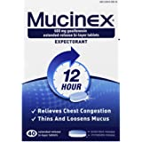 Mucinex 12-Hour Chest Congestion Expectorant Tablets, 40 ct (Pack of 3).