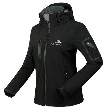 523785f6f7c CIKRILAN Women s Windproof Softshell Outdoor Jacket Water Resistant Hooded  Sportswear(Small