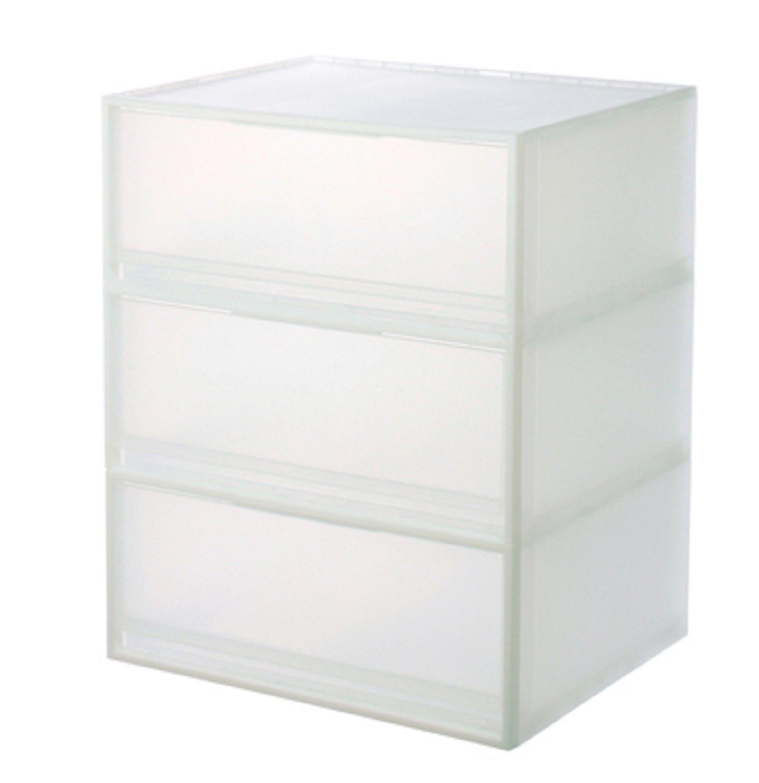 Amazon|無印良品 ポリプロピレン収納ケース 引出式 横ワイド 大 (3段)|収納ケース・ボックス オンライン通販