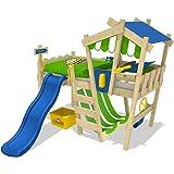 WICKEY Kinderbett mit Rutsche CrAzY Hutty Hochbett mit Dach Abenteuerbett mit Lattenboden, apfelgrün-blau + blaue Rutsche